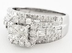 Diamond 2.00ctw Princess Cut & Round & Baguette 10k White Gold Ring