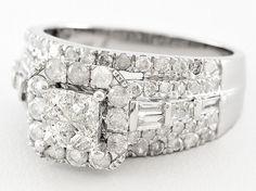 Diamond 2.00ctw Princess Cut & Round & Baguette 10k White Gold Ring