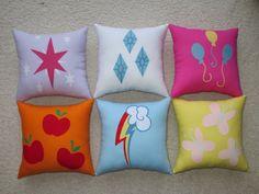 My Little Pony: Friendship is Magic cutie mark pillows ||| Applejack, Rainbow Dash, Fluttershy, Pinkie Pie, Rarity, Twilight Sparkle