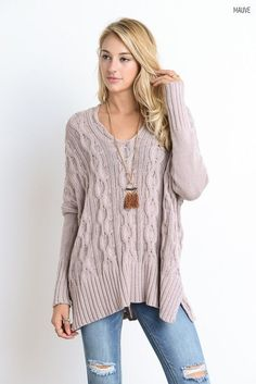 Cableknit Side Slit Sweater (Several Colors)