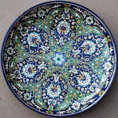 Blue: Ornate stoneware plate made in Uzbekistan Ceramic Plates, Porcelain Ceramics, Ceramic Pottery, Pottery Art, Decorative Plates, 1000 Gifts, Turkish Tiles, Ceramic Painting, Plates On Wall