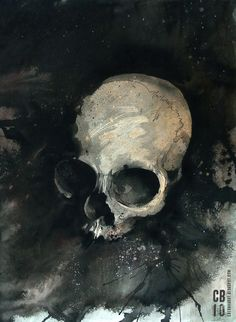 Watercolor skull painting by Skull Painting, Painting & Drawing, Body Painting, Painting Inspiration, Art Inspo, La Danse Macabre, Watercolor Techniques, Skull And Bones, Horror Art
