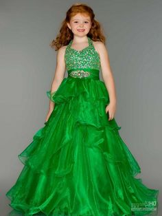 Custom Made Free Shipping 2014 Ball Gown Organza Beaded Green Flower Girl Dresses for Party $109.89