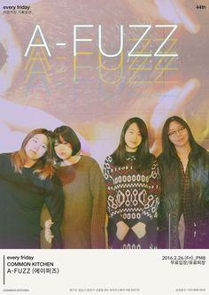 """에이퍼즈 (A-FUZZ) 는 여성 4인조 퓨전재즈 밴드로, 귀에 꽂히는 인상적인 멜로디를 가진 음악으로 대중에 보다 친근하게 다가선다.   지난 2015년 3월 첫번째 EP """"Fading Lights""""를 발매하며 '2015 올해의 헬로루키' 대상, 'K-Rookies' 우수상, '서울 국제 뮤직 페어(이하 '뮤콘')' 참여 및 세계적인 프로듀서 '데이브 클리블랜드'와 협업을 이뤄내며 2015년 가장 주목받는 신인밴드로 급부상하였다. """"근래 만난 가장 뛰어난 젊은 기타"""", """"새로울 것 없는 퓨전 재즈 스타일을 원숙한 연주로 승화시킨 자신감이 돋보인다"""" 등의 호평을 받으며 대중앞에 나선 그들은, 각각의 즉흥 연주를 강조한 재즈(Jazz)를 바탕으로, 펑크(Funk)의 리듬과 락(Rock) 사운드를 추가하는 등 다양한 장르를 소화하며 탄탄한 실력을 보여주고 있다.  그외 여러 클럽과 페스티벌에서 활발하게 활동 중인 밴드로 놀랄만한 실력을 보여주는 팀입니다."""