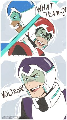 """""""What Team?!"""" #5 - by jabberwockyface ---- """"Keith may be inept to social cues (and that's why I love him…) BUT BOTH THESE BOYS ARE FROM EARTH.""""  << Lance, Keith, Shiro"""