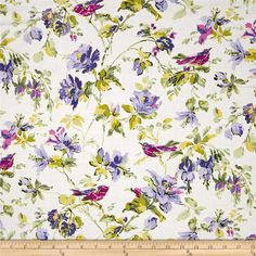 Michael Miller Veranda Sweet Song Lilac from @fabricdotcom  Designed for Michael Miller, this cotton print fabric is perfect for quilting, apparel and home decor accents. Colors include navy, white, shades of pink, shades of purple, and shades of green.
