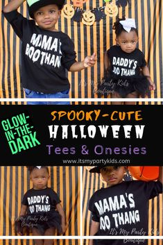 Glow-in-the-dark Halloween children's tees and baby onesies (Newborn - Personalized Gifts For Kids, Personalized T Shirts, First Halloween, Halloween Kids, Best Baby Shower Gifts, Kids Boutique, Baby Store, Kid Stuff, Christmas Ideas