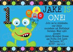 Monster Birthday Invitations Printable, ANY AGE AVAILABLE