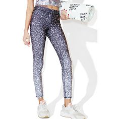 Terez Glitter Print Capri Leggings ($78) ❤ liked on Polyvore featuring pants, leggings, wet look leggings, capri leggings, white leggings, shiny leggings and bib overalls