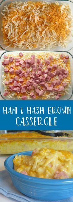 This Ham and Hash Brown Casserole recipe is a creamy family favorite that's filled with cheddar cheese.