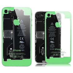 iPhone 4 / 4S Transparent Glass Back Cover - Green