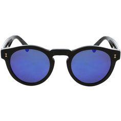 ILLESTEVA Leonard Sunglasses ($230) ❤ liked on Polyvore featuring accessories, eyewear, sunglasses, glasses, mirrored glasses, black glasses, glass lens glasses, mirrored sunglasses and tinted glasses