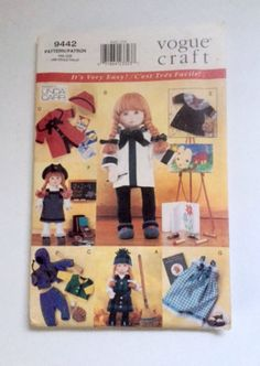Vogue Craft 9442 Sewing Pattern Easy Outfits Girl Doll Clothes Fit 18 inch Uncut