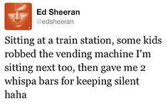 ha, he has the best tweets when he takes the train! and I just heard Lego House on the radio!!!!!
