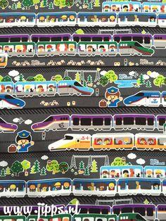 Hello my friend Trains - Kokka-Fabric 100% katoen canvas  #online_stoffen #kinderstoffen #stoffenwinkel_online #retro_stoffen