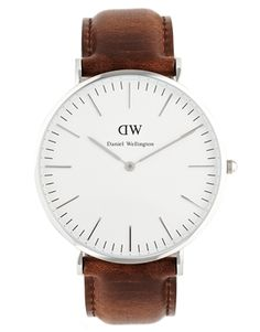 Image 1 of Daniel Wellington Bristol Silver Brown Leather Strap Watch