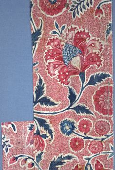 Textile (India), 18th century https://collection.cooperhewitt.org/objects/18481855/with-palette-css4/ This is a textile. It is dated 18th century and we acquired it in 1973. Its medium is cotton and its technique is mordants for three reds and purple applied by brush or pen; blue applied over resist; yellow over blue to create green; mordant for background spattered through a stencil; chintz on plain weave. It is a part of the Textiles department. This object was donated by Josephine Howe