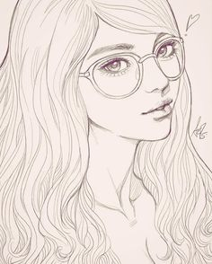 A girl with glasses sketched with #ipadpro and #procreate