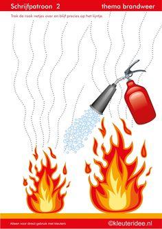 Schrijfpatroon 2, thema brandweer voor kleuters, juf Petra van kleuteridee.