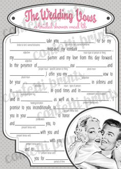 Retro Bridal Shower Game  THE WEDDING VOWS by ConfettiPrintsShop, $10.00
