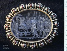 (856×648) Giovanni Bernardi, Christ before Pilate, obverse, intaglio rock crystal in gold with enamel and gems, c.1547,