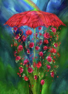 Raining Roses Mixed Media by Carol Cavalaris