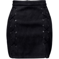 Black Faux Suede Lace Up Side Pencil Skirt (110 RON) ❤ liked on Polyvore featuring skirts, suknjice, lace up skirt, zip skirt, zipper pencil skirt, pencil skirts and bodycon skirt