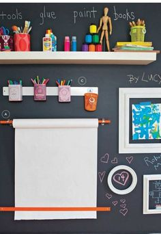 Check out this amazing, creative space for the kids' arts and crafts, anchored by a large chalkboard wall!