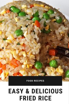 The best & healthy recipes of Easy Delicious Fried Rice Fried Rice Recipe Egg, Fried Rice Recipe Indian, Chicken Fried Rice Recipe Easy, Healthy Fried Rice, Chicken Rice Recipes, Easy Rice Recipes, Cauliflower Recipes, Rice Breakfast Recipes, Vegetarian Rice Recipes