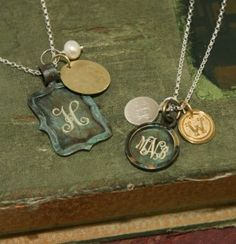 Vintage Chic-   What a Great Mothers day Necklace...Have Wife's, Husband's, and Children's Initials with a Birthstone...