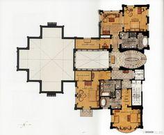 Islamic Architecture, Architecture Plan, Villa Plan, Mexico House, Apartment Floor Plans, Arch Interior, Floor Layout, Classic Interior, Floor Design