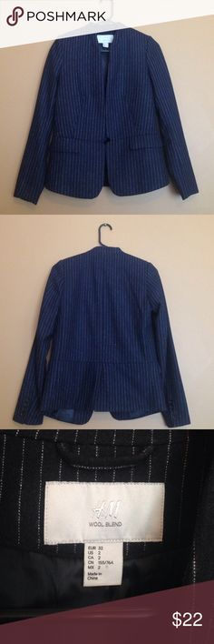 H&M wool blend navy blue pinstripe blazer. Blue with white pinstripe blazer is very versatile. No button or clasp. H&M Jackets & Coats Blazers