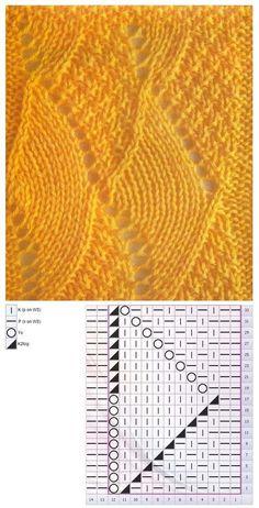 stitch pattern/ in… Lace Knitting Stitches, Lace Knitting Patterns, Baby Hats Knitting, Knitting Charts, Lace Patterns, Knitting Designs, Hand Knitting, Stitch Patterns, Diy Couture