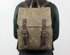 Waxed Canvas Bag Leather Backpack Waxed Backpack Wax by Tram21