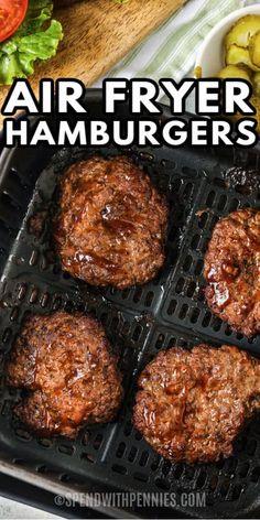 Air Fryer Recipes Hamburger, Air Fryer Oven Recipes, Air Frier Recipes, Air Fryer Dinner Recipes, Homemade Burger Patties, Hamburger Patties Recipe, Hamburger Sliders, Air Fryer Healthy, Healthy Food