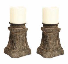 Tree Stump Pillar Candle Holders, Set of 2