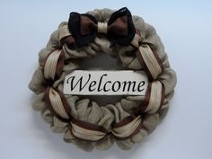Burlap Welcome Wreath, Burlap Welcom Sign, Front Door Wreath, Country Burlap, Large Black and Brown Burlap Bow, Burlap Wreath for the Home by BeautifulHomeAccents on Etsy