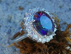 Mystic Quartz Ring. Mystic Topaz Ring. Sterling Silver jewelry with natural gemstone. Present gift for her. natural stone.