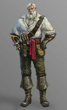 Male Old Human Pirate - Pathfinder PFRPG DND D&D d20 fantasy: