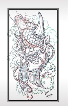 Carp Tattoo, Snake Tattoo, Fish Tattoos, Japanese Tattoo Art, Japanese Koi, Samurai, Dragons, Tattoo Designs, Asia