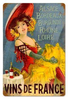 """Vins de France """"Alsace, Bordeaux, Burgundy, Rhône, Loire. Alcohol Vintage poster / vieille affiche publicitaire d'alcool. Drink ads."""