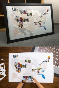 Add your own photos from every state in the USA to capture a lifetime of memories and create a one-of-a-kind map showing where youve been or where youre going. Diy Crafts To Sell, Diy Crafts For Kids, Cute Gifts, Diy Gifts, Homemade Fathers Day Gifts, Photowall Ideas, Photo Maps, Travel Themes, Room Themes