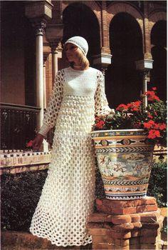 CROCHET wedding dress and Juliet cap - 32 to 42 inch bust - DK/8 Ply Mohair - Crochet Pattern - PDF instant download