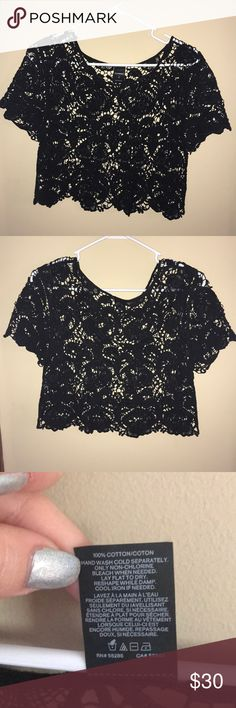 Perfect express black lace top Black lace top, perfect for a night out! Express Tops Crop Tops