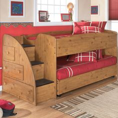 Twin Loft Bed with Storage via Wayfair Great project for me to make for my Grandsons Room