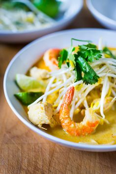 Malaysian Laksa Soup w/ Coconut, Curry, Chicken and Shrimp over rice noodles  www.feastingathome.com