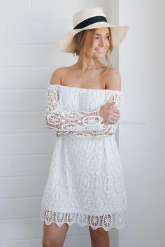 wren lace dress - white |
