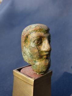 Antique for sale Gallo-roman period statue, head of bearded man Mask Head Sculpture Fine arts architecture