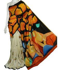 Multicolor Hand Painted Sonamukhi Silk Saree