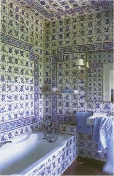 I love blue and white but even this as beautiful as the Portuguese tiles are in this bathroom its alittle over whelming!!! Lol